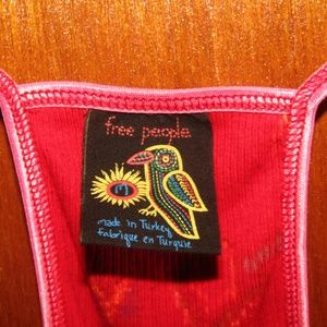 FREE PEOPLE red bird print tank racer back sz M